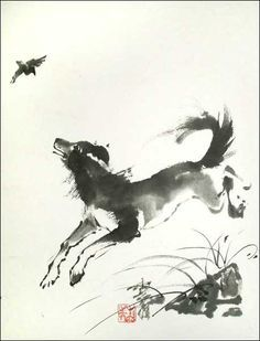 Chinese style illustration of a dog chasing a bird