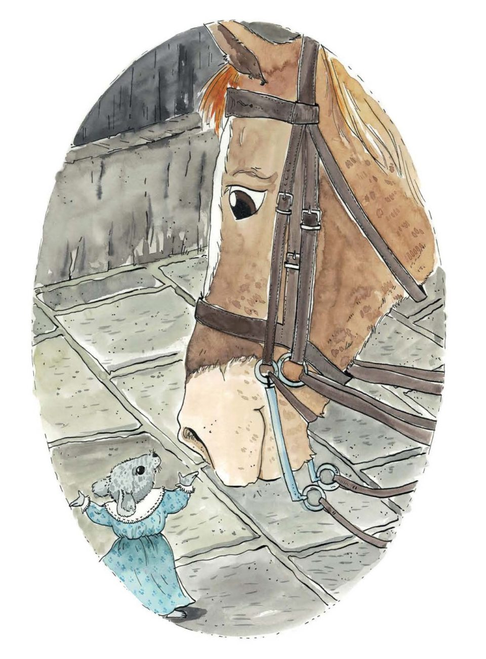 Victoria, a small grey mouse, wears a blue dress and meets Gerald the brown horse. This picture will be shown at the Moon Lane CPID Festival
