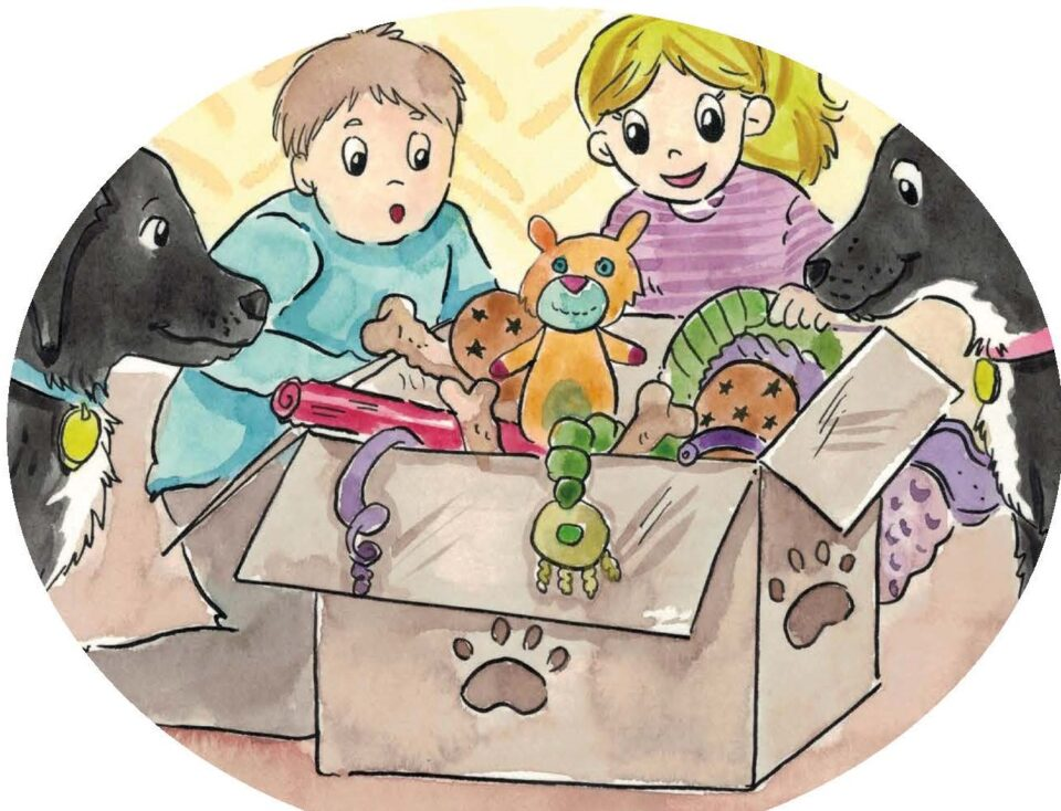 Drawing of children opening a box of toys