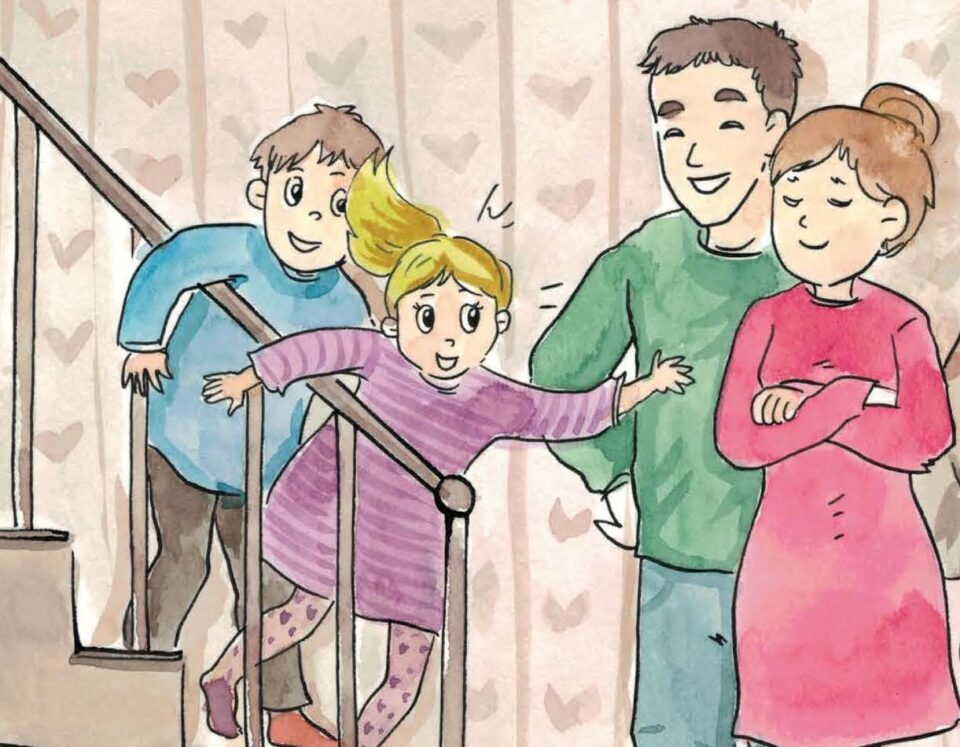 A drawing of children running down the stairs