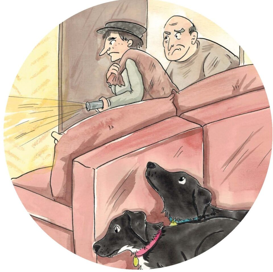A painted picture of two burglars and two dogs hiding behind the sofa. The room is light.