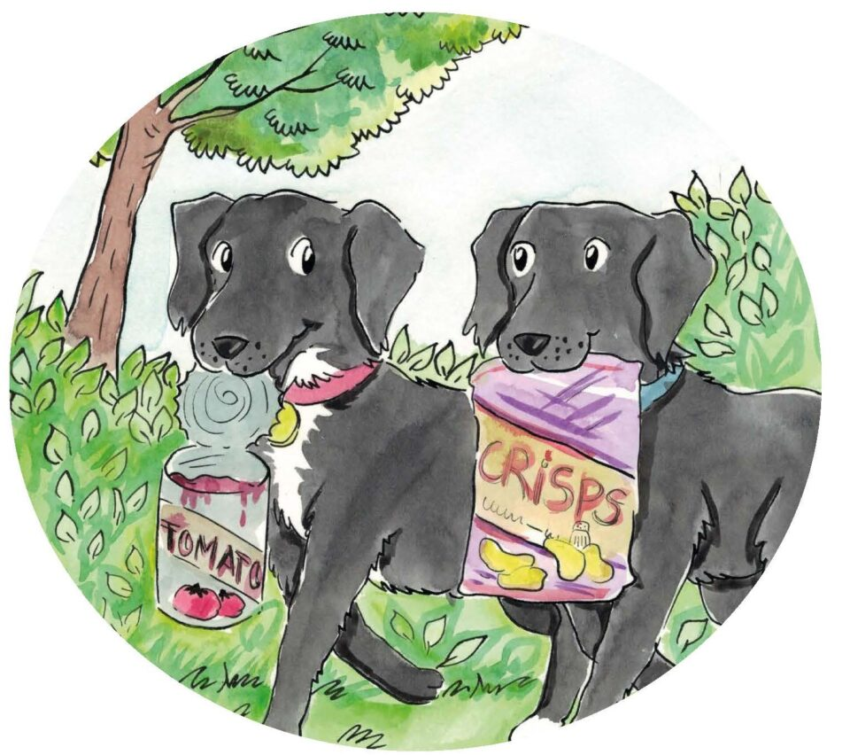 A painted picture of two dogs.  One carrying a tin by it's lid