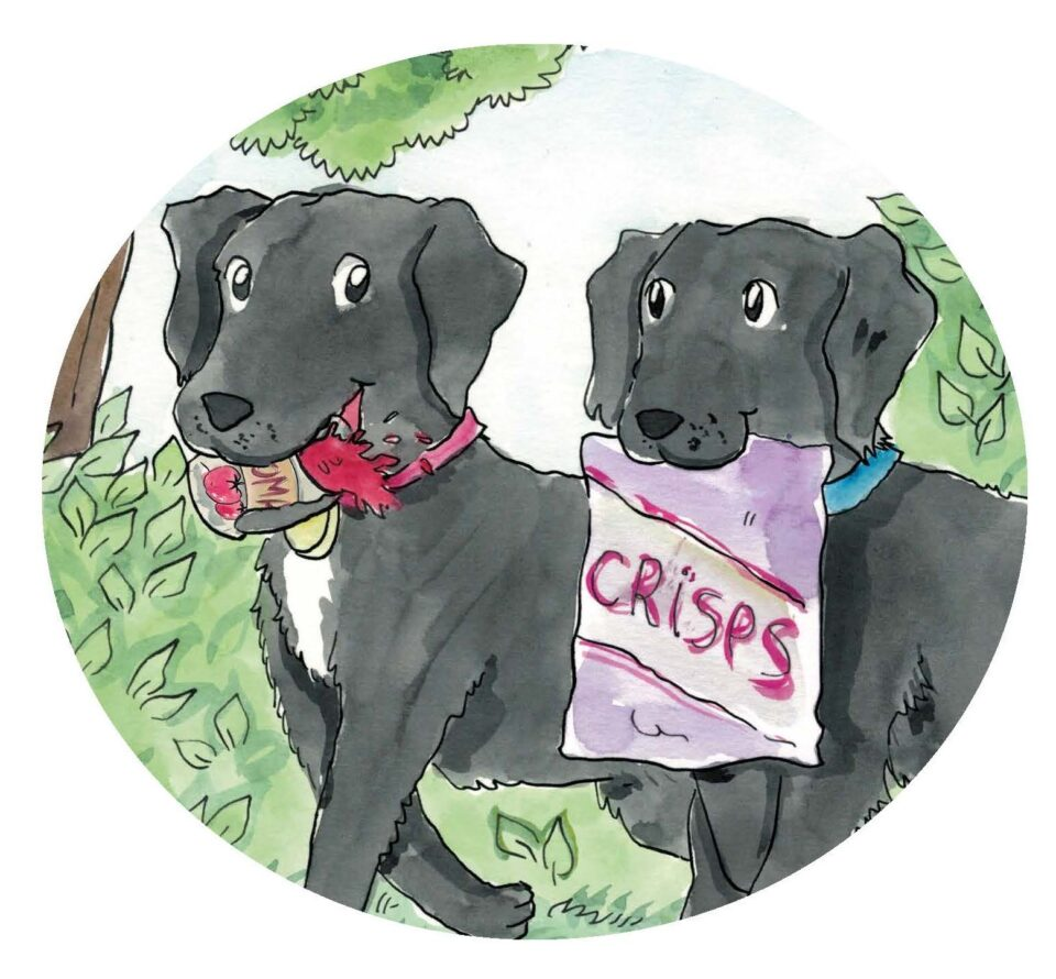 The final version of the painted picture of two dogs.  One is carrying a tin on it's side rather than holding the lid.